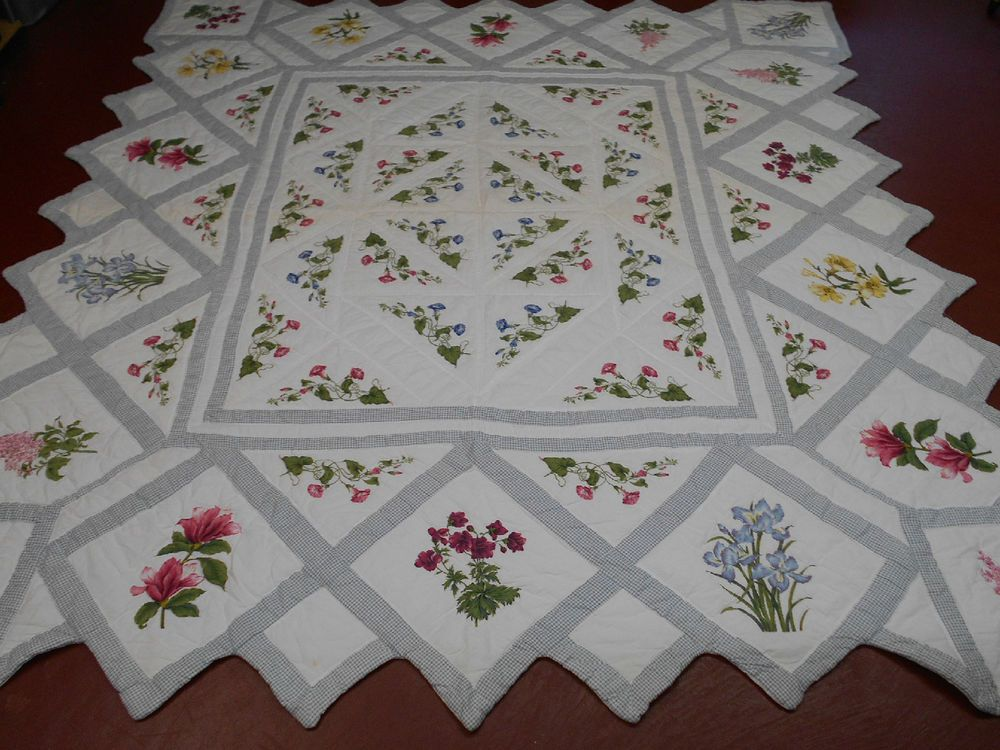 Amazing Silk Screen Pieced Morning Glories & More Quilt - Hand Quilted .Quilt on ebay. Love the pattern