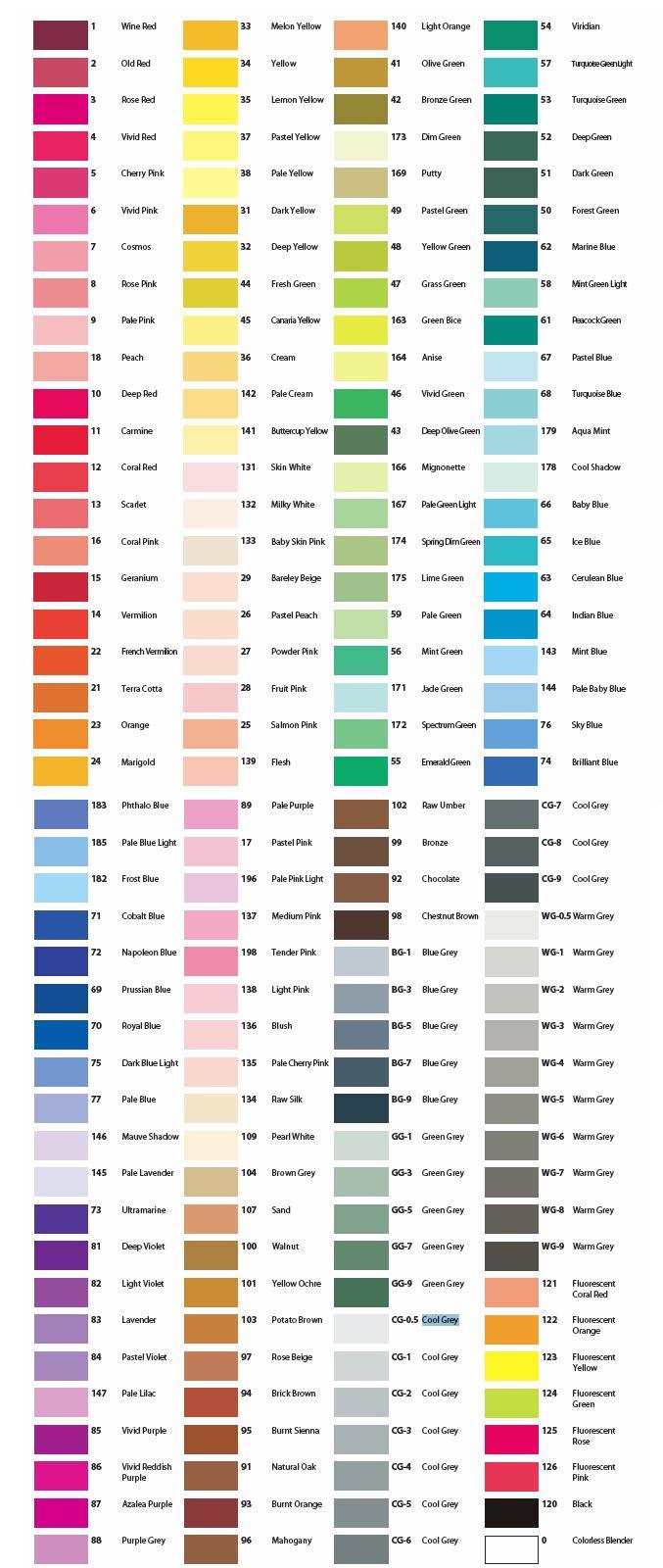 Print Copic Color Chart | Complete Color Chart | Palette