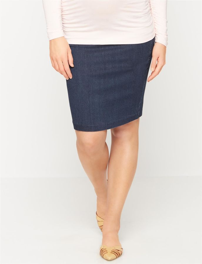 41f3e05ada A Pea in the Pod Luxe Essentials Denim Secret Fit Belly Pencil Fit  Maternity Skirt