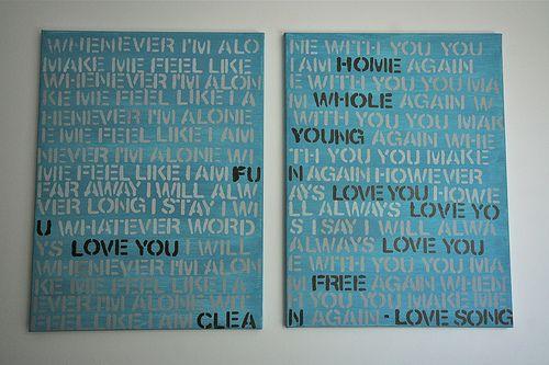 Lyrics on canvas - stencils
