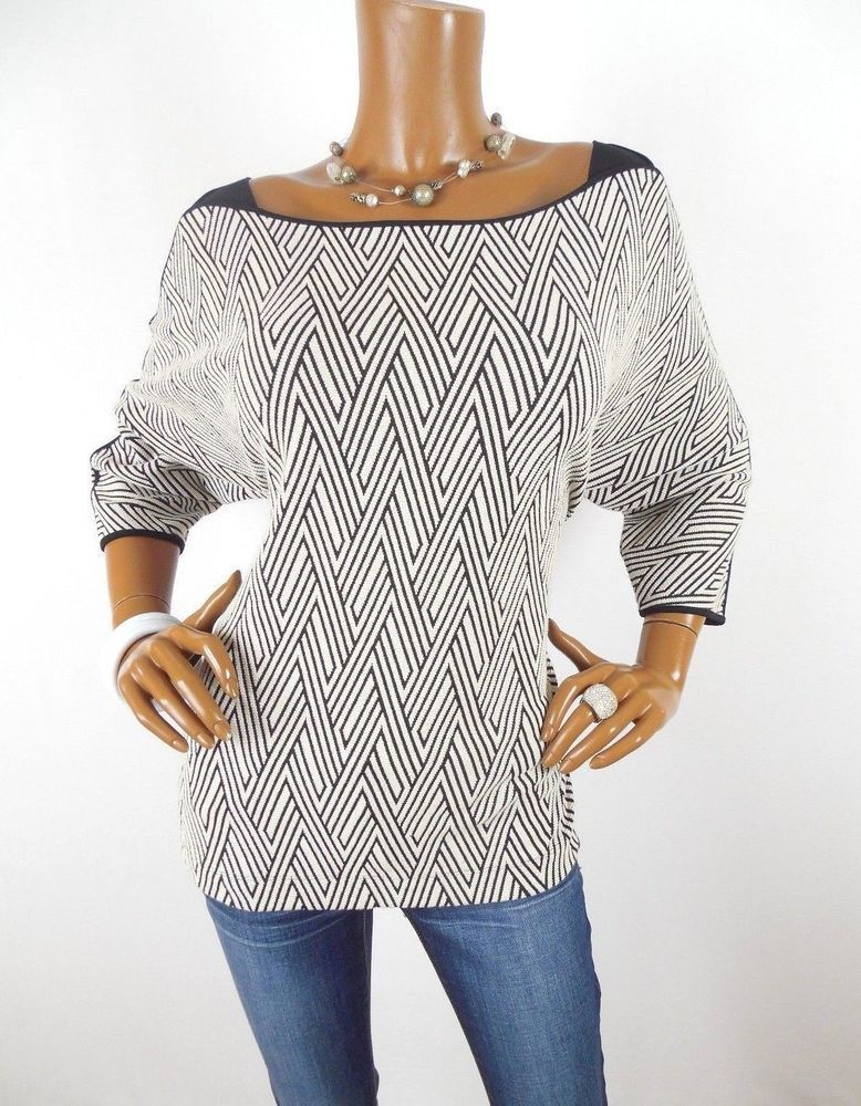 7789631051082d CHICO S Sz 2 Womens Top M L Stretch Shirt Casual Blouse Boxy Knit 3 4  Sleeves  Chicos  Blouse  Casual