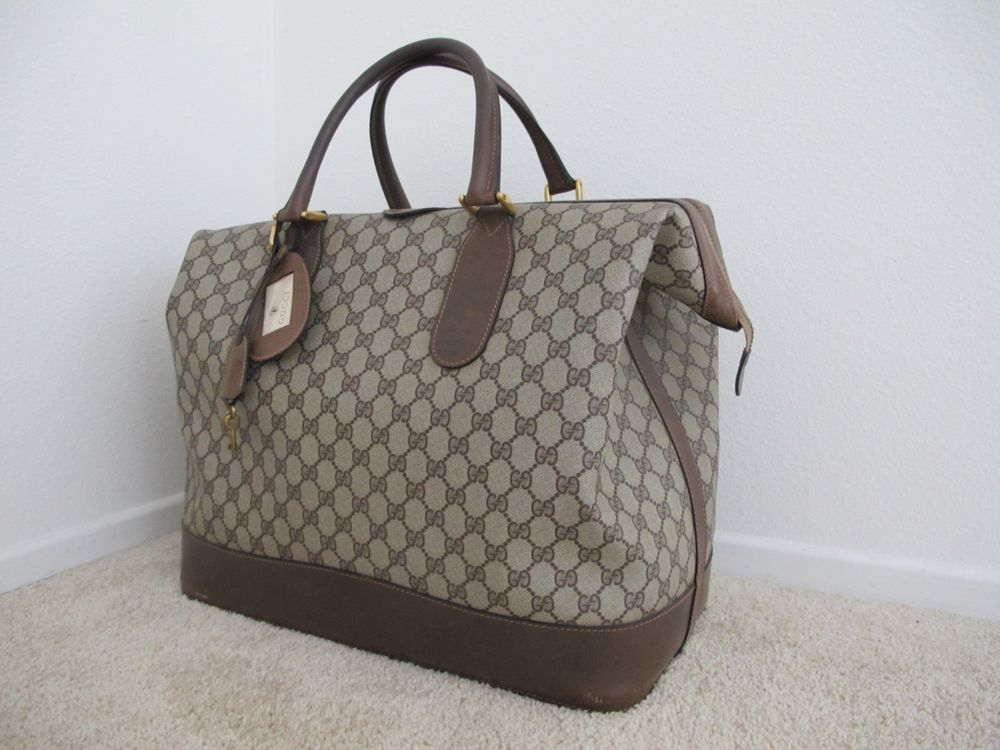 9e452330307 Authentic Vintage GUCCI GG Monogram Travel Bag Carry On Luggage Satchel  Duffel