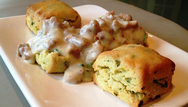 GF Scallion Biscuits & Sausage Gravy.