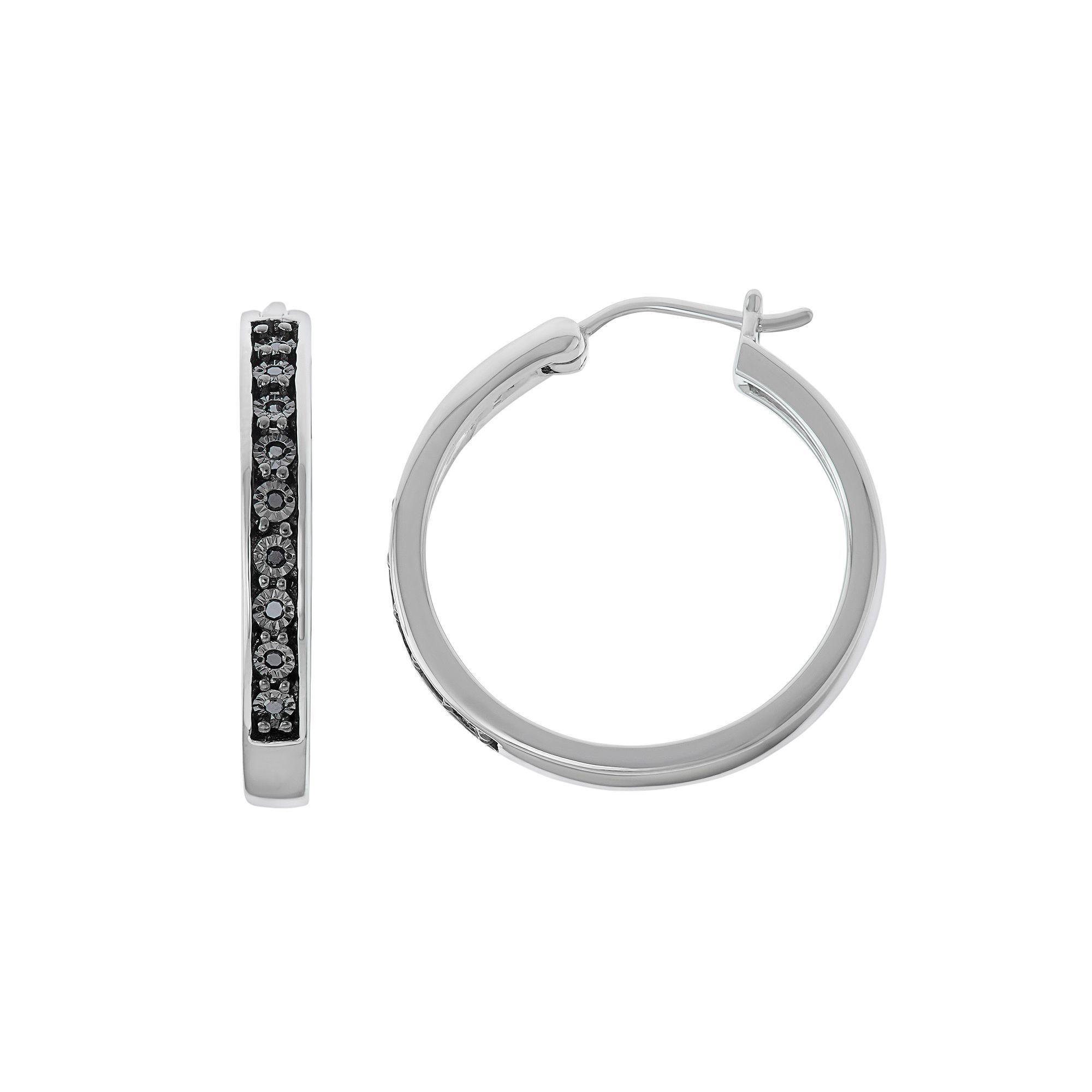 Sterling Silver 1 10 Carat T W Black Diamond Hoop Earrings Women S
