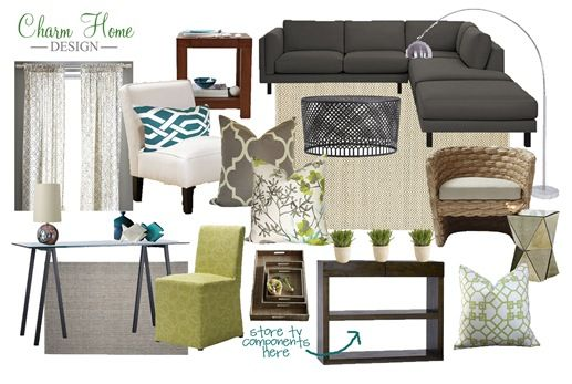 green and grey for living room