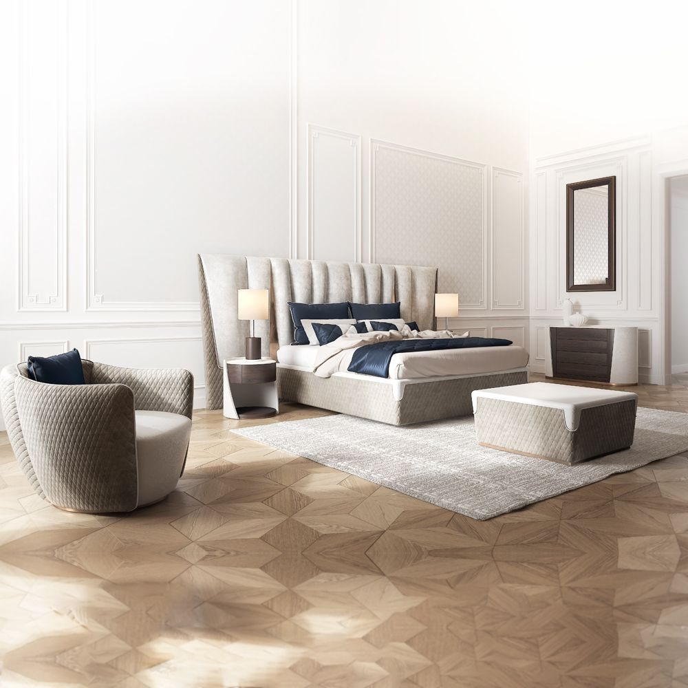 Made In Italy Leather Luxury Contemporary Furniture Set: Exclusive Modern Italian Upholstered Leather Bed In 2019