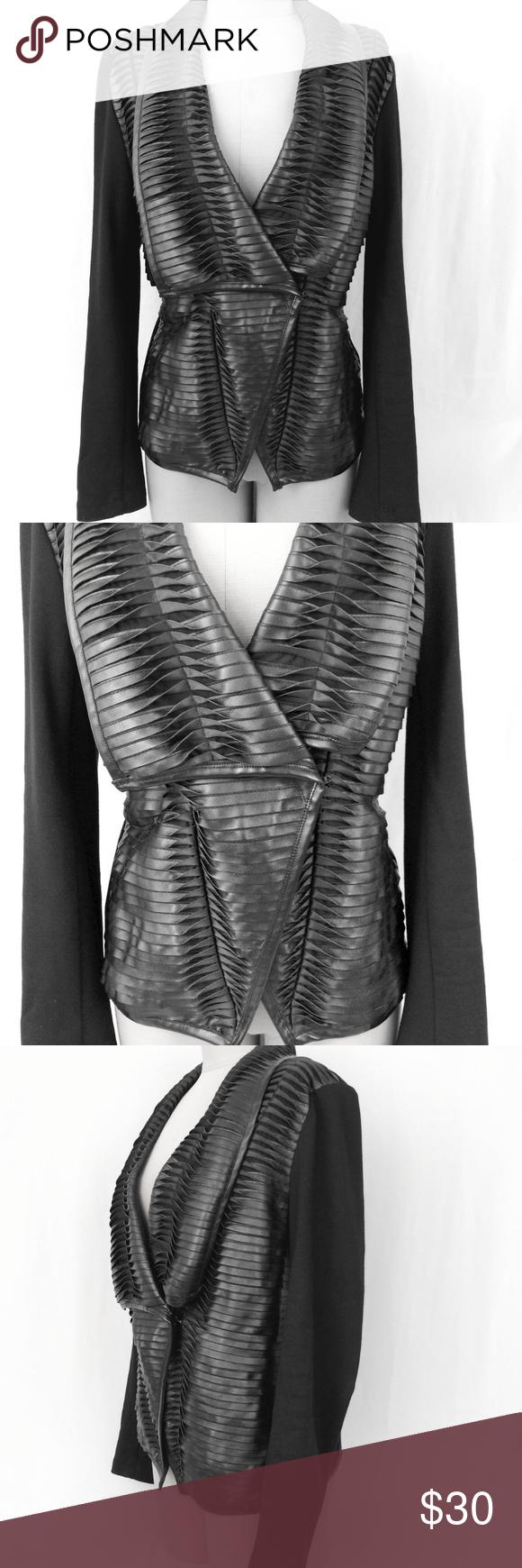 PREMISE Ladies Black Faux Leather Woven Jacket 12 Woven