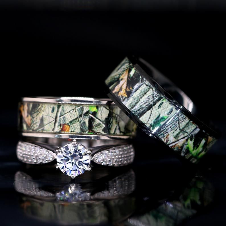 Camo Wedding Ring Set For Him And Her Titanium Black Ip Etsy Camo Wedding Rings Camo Wedding Rings Sets Hunting Wedding Rings