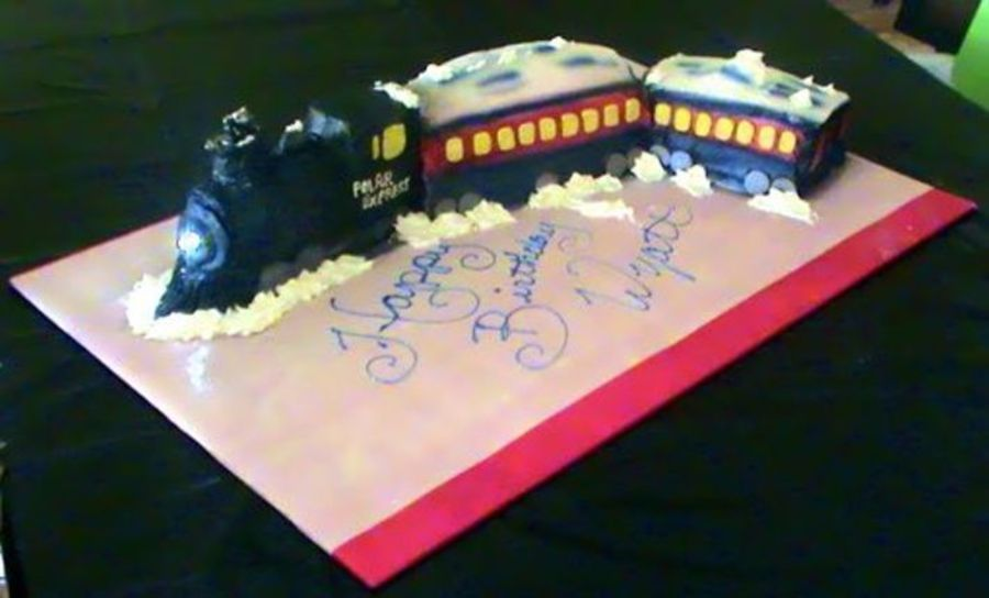 Phenomenal Polar Express Birthday Cake Polar Express Birthday Cake Polar Funny Birthday Cards Online Fluifree Goldxyz
