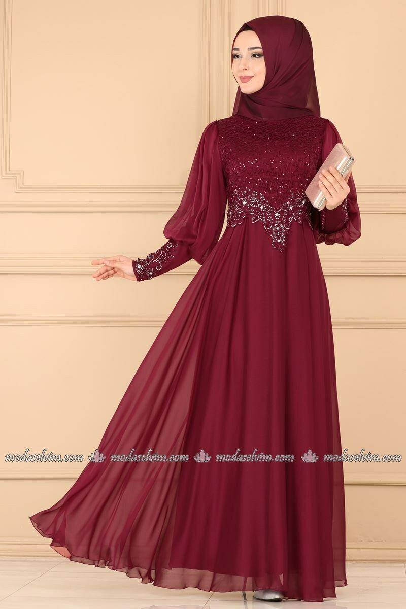 Gupuru Tasli Tesettur Abiye 52776alm181 Bordo Moda Selvim 2020 The Dress Aksamustu Giysileri Musluman Modasi