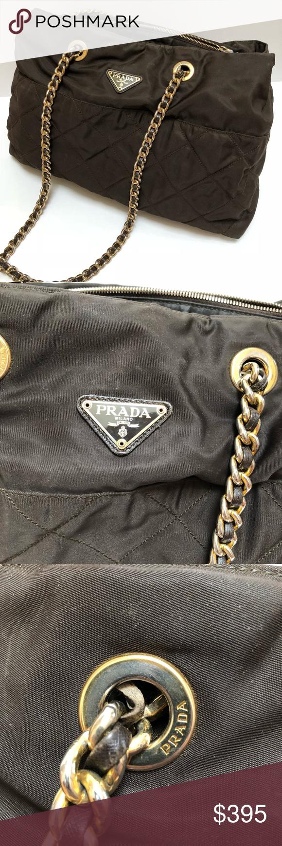 a28587dca14bdc Authentic Prada nylon chain shoulder bag