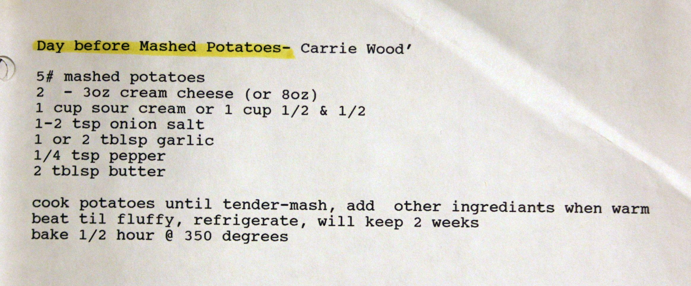 Grandma Wood's Day Before Mashed Potatoes