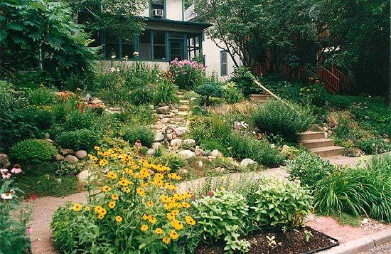 Slope landscape solutions by kdeecook on pinterest for Garden slopes designs