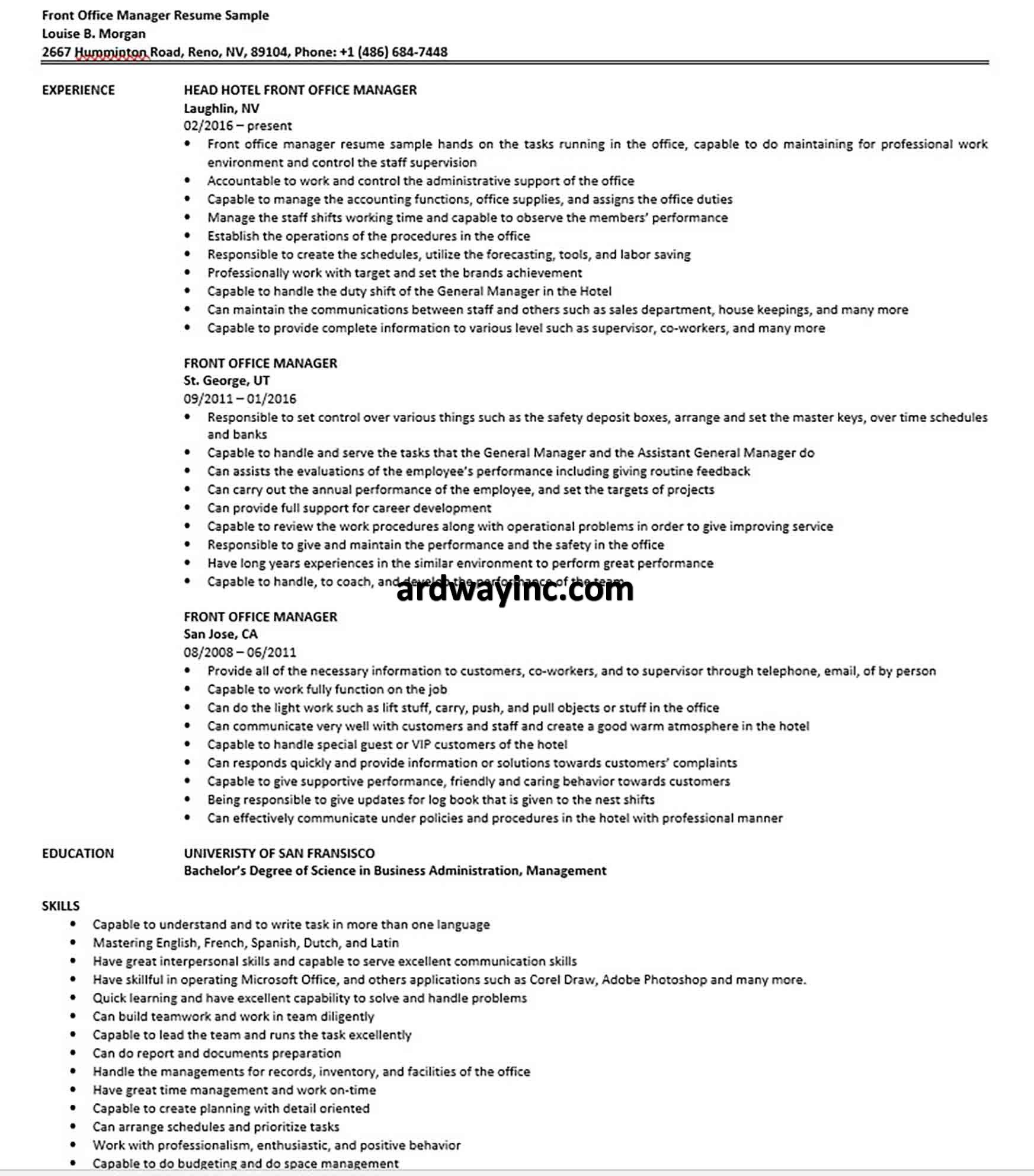 Front office manager resume sample in 2020 office