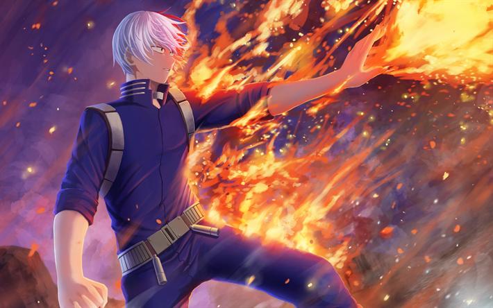 Download Wallpapers Shoto Todoroki 3d Art My Hero Academia Manga Fire Flames Boku No Hero Academia Besthqwallpapers Com My Hero Academia My Hero Academia Eraserhead My Hero