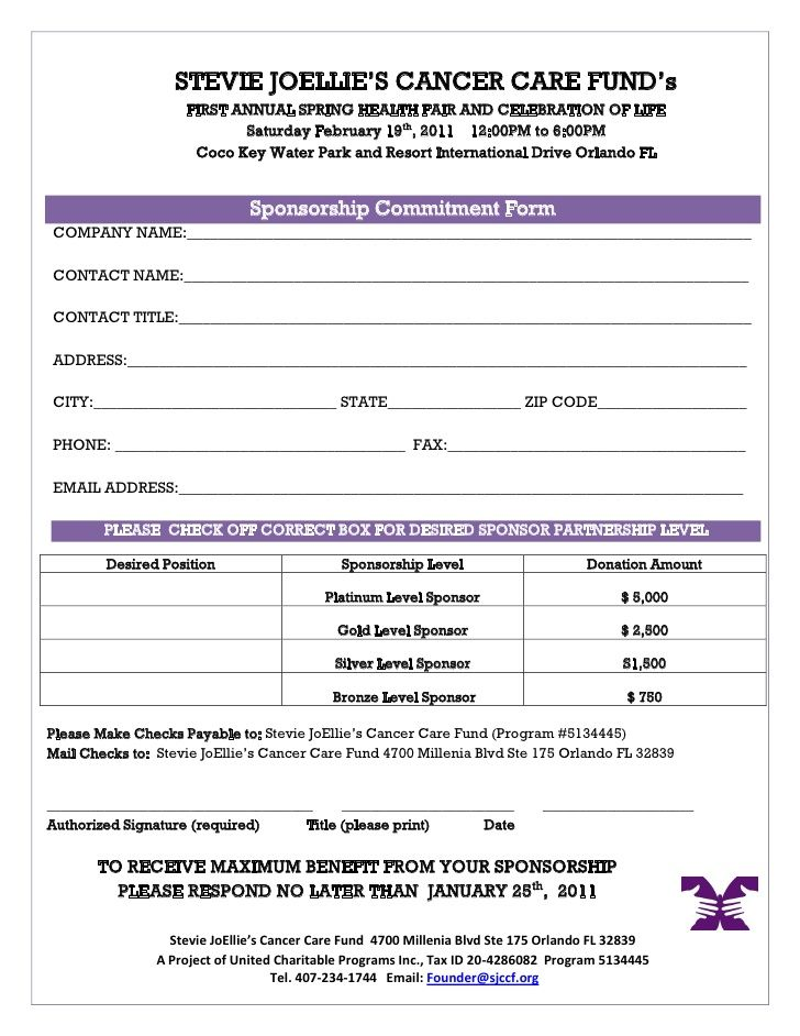 health fair sponsorship proposal letter templates free sample – Template Sponsor Form