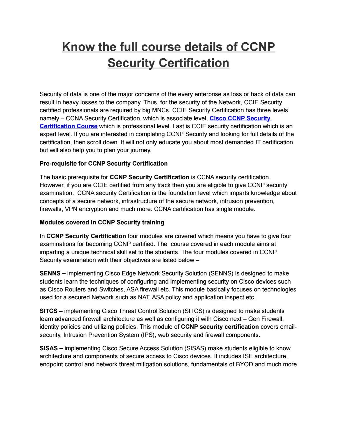 Know the full course details of ccnp security certification 1betcityfo Gallery