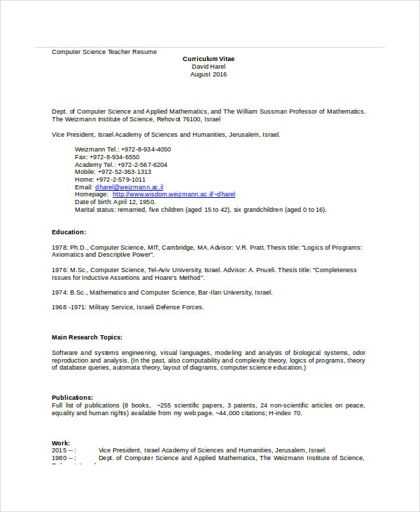 Resume Templat Computer Science Teacher Resume Template  Computer Science Resume