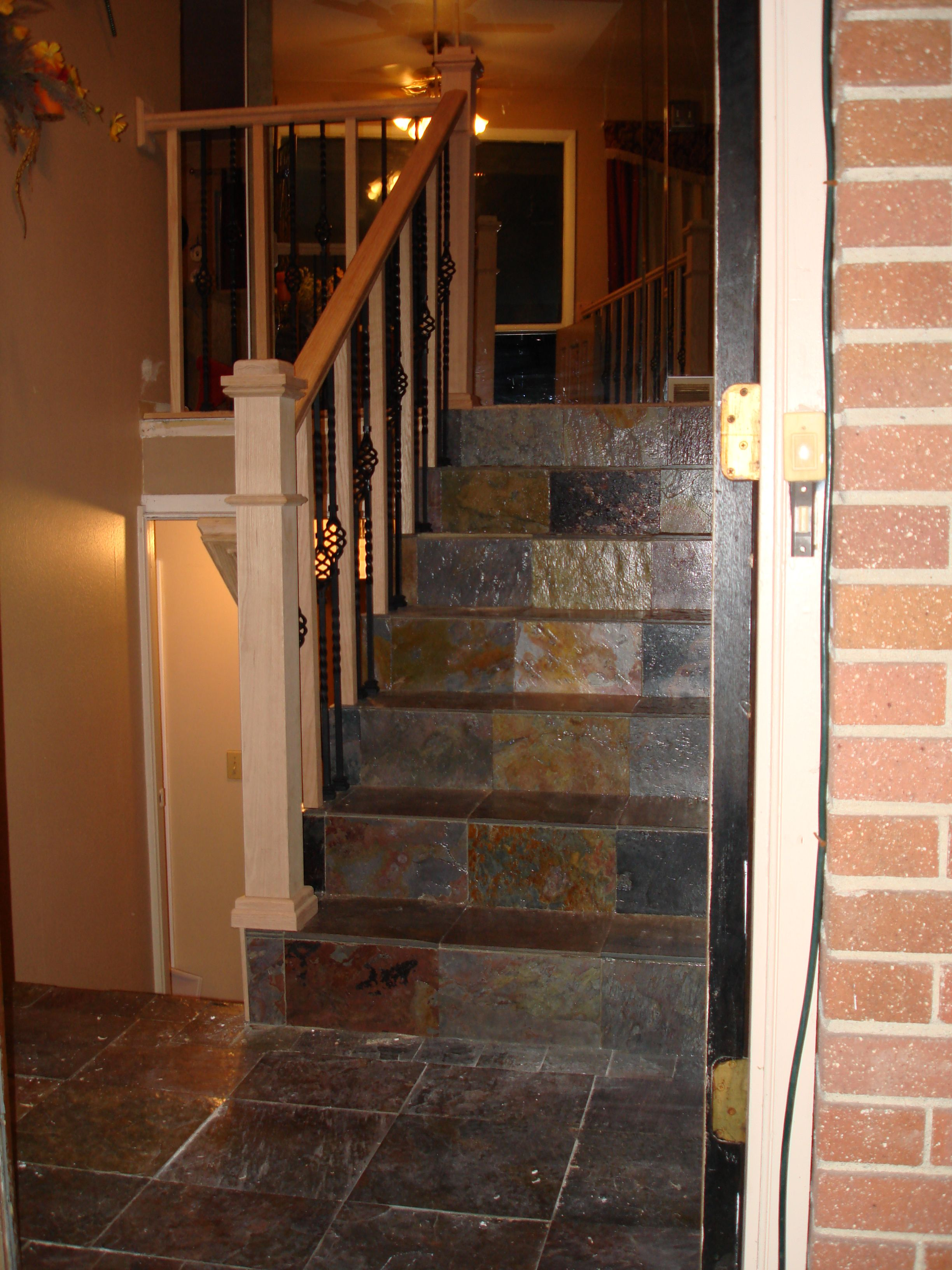 Split Entry Stairway Google Search: Slate Tile Entry & Staircase, New Oak And Iron Railing On