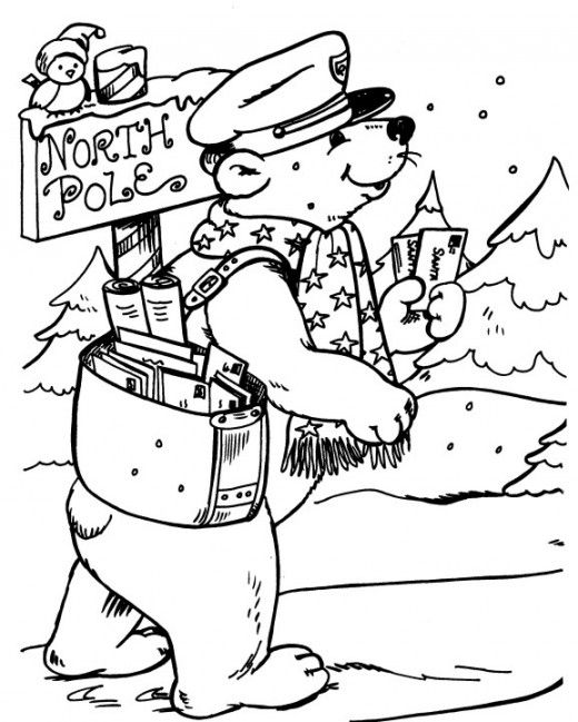 bear letter carrier to north pole coloring page