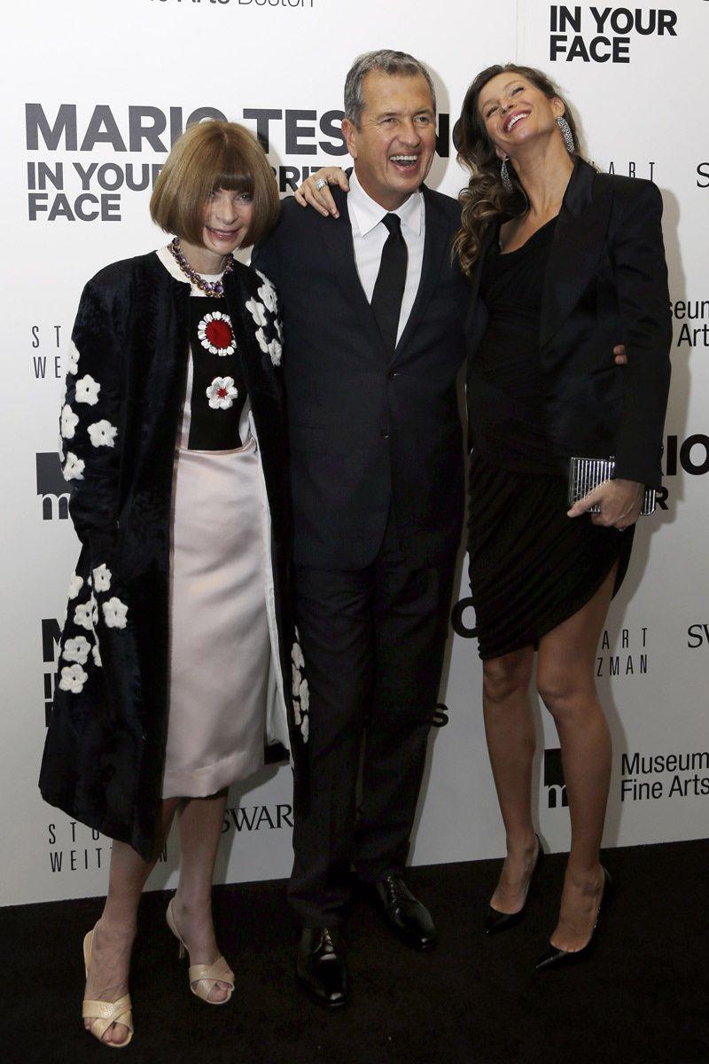 Inauguracion exposicion Mario Testino en Boston: Mario Testino, Anna Wintour y Gisele Bundchen