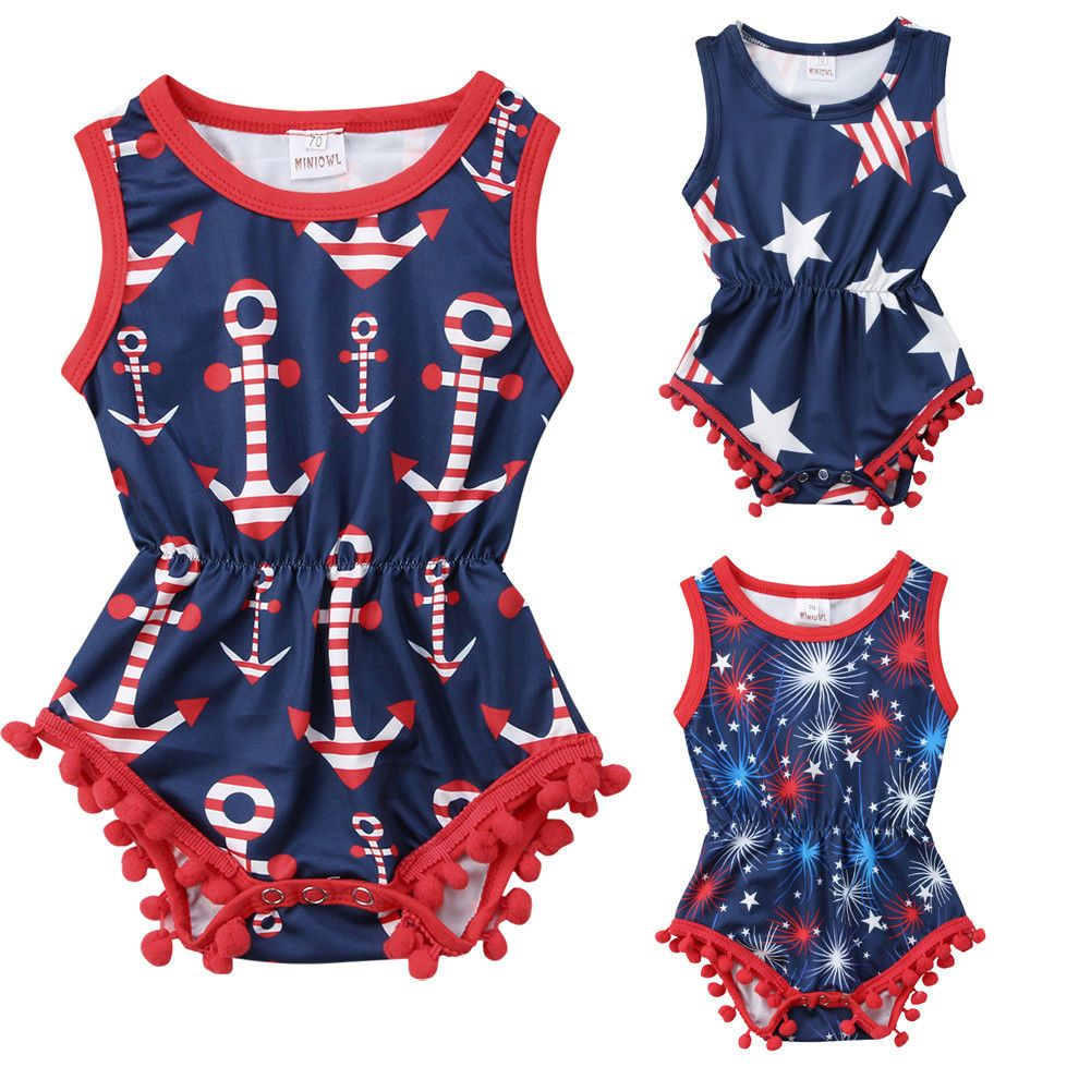 099a00464941 Newborn Infant Baby Girl 4th of July Romper Jumpsuit Summer Baby Girl  Clothes Tassel Star Striped Firecracker Jumpsuit Cotton One-Piece