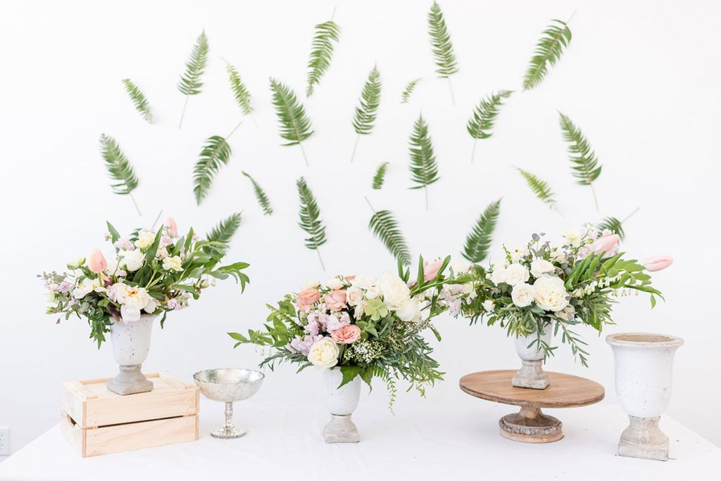 floral workshop featuring fern, peony, french tulips all in a subtle and bright spring palette