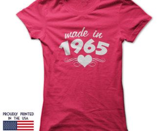 Made In 1965 T Shirt Ladies Heart Design Makes An Ideal Womans 50th Birthday Gift
