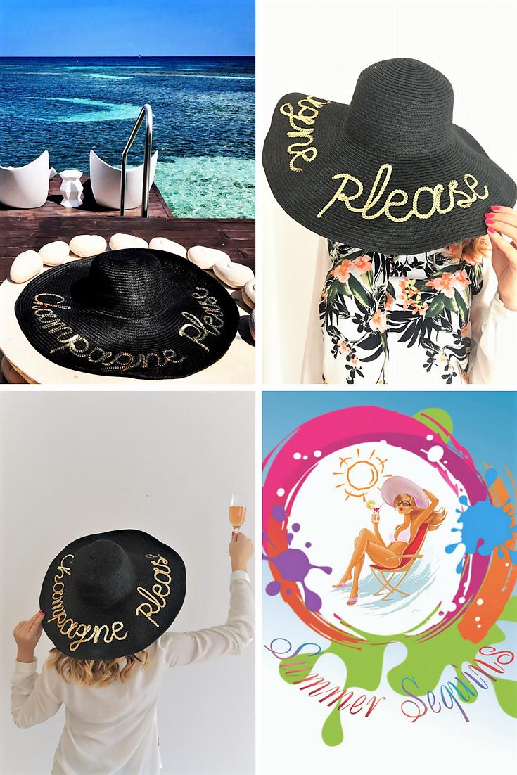 6d09c7c1 Champagne Please Hat | Personalized Sun Hat | Bachelorette Party ...