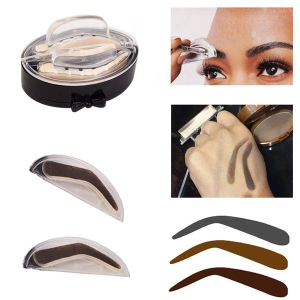 Professional Eyebrow Stamps Kit Pigments Black Brown Brows Mineral