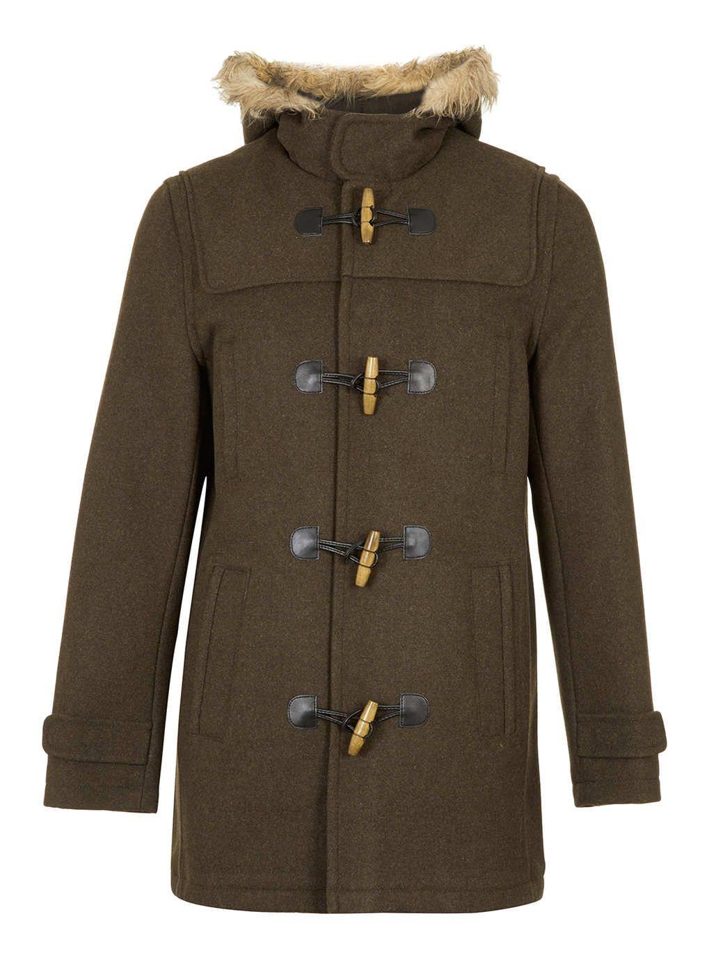 KHAKI WOOL DUFFLE COAT - Men's Jackets & Coats - Clothing - TOPMAN ...
