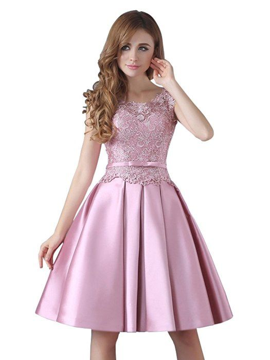 CLOCOLOR Women\'s Satin Scoop Neck A Line Short Lace Homecoming Dress ...