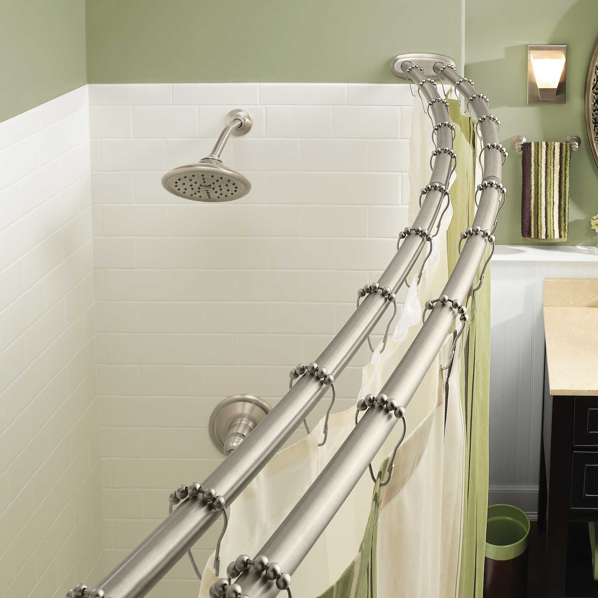 Moen Adjustable Double Curved Brushed Nickel Shower Rod Double
