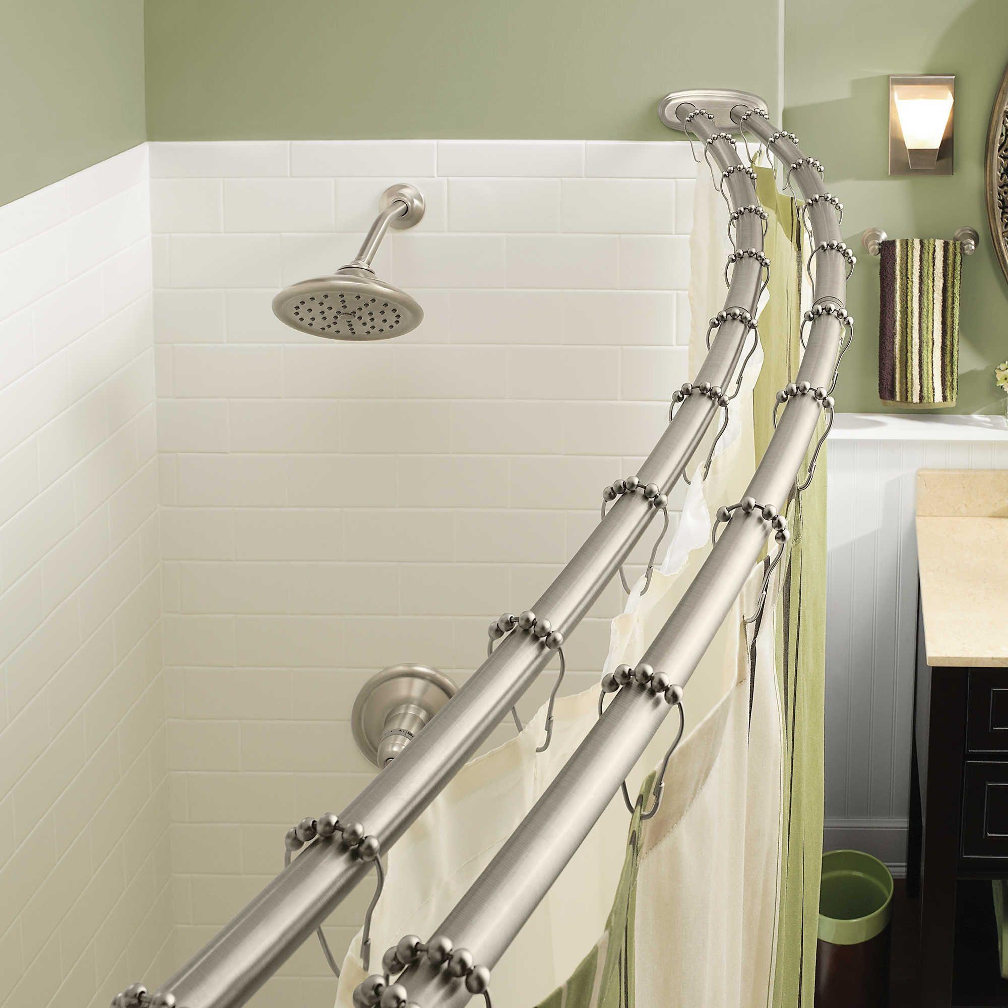 Moen® Adjustable Double Curved Brushed Nickel Shower Rod | Shower rod