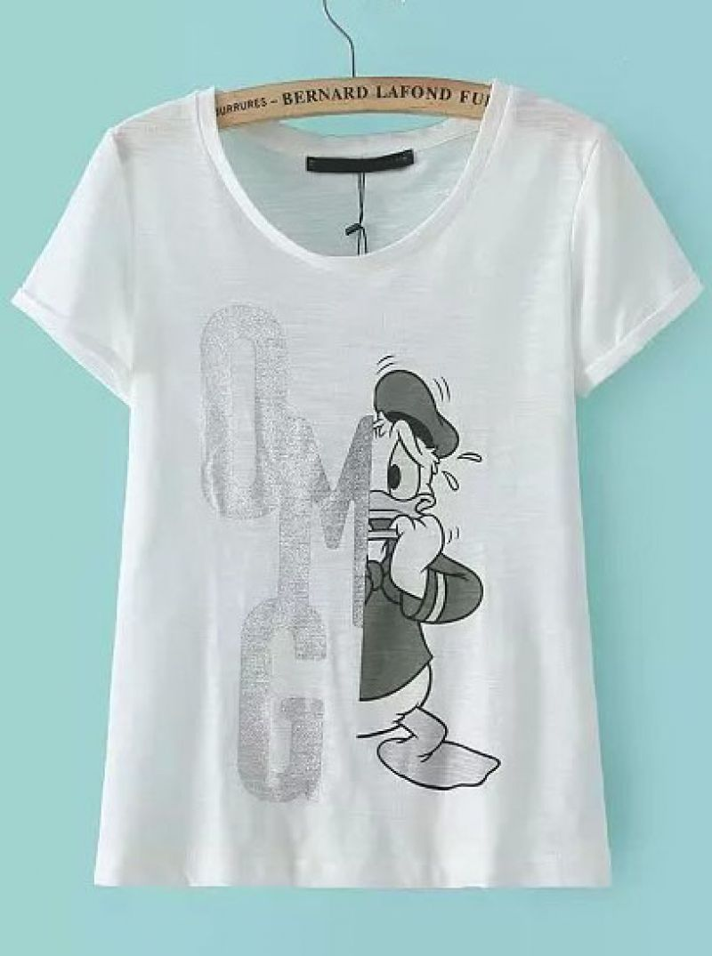 5c6da881 Buy White Short Sleeve Donald Duck Print T-Shirt from abaday.com, FREE  shipping Worldwide - Fashion Clothing, Latest Street Fashion At Abaday.com