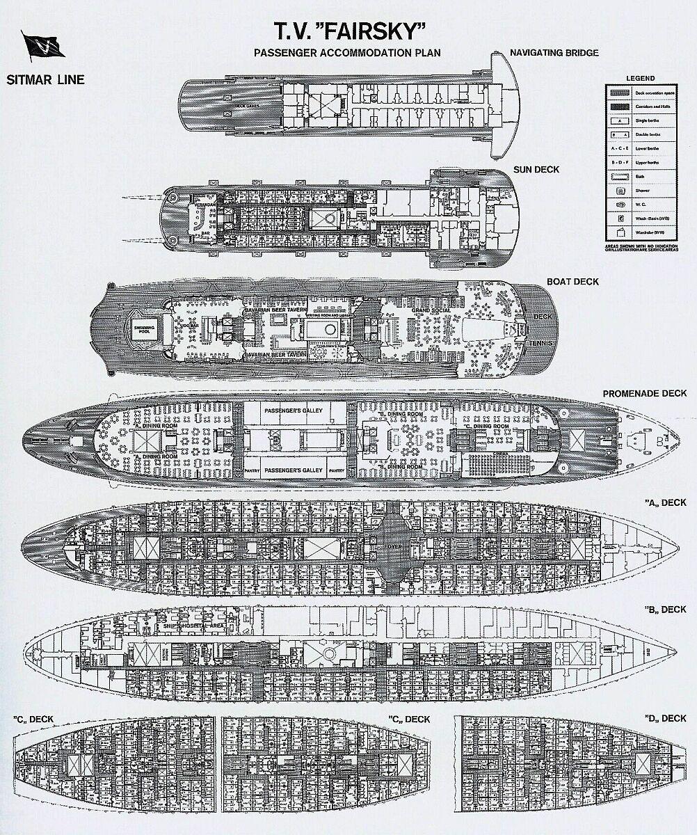 Sitmar Lines TV Fairsky Deck Plan Passenger