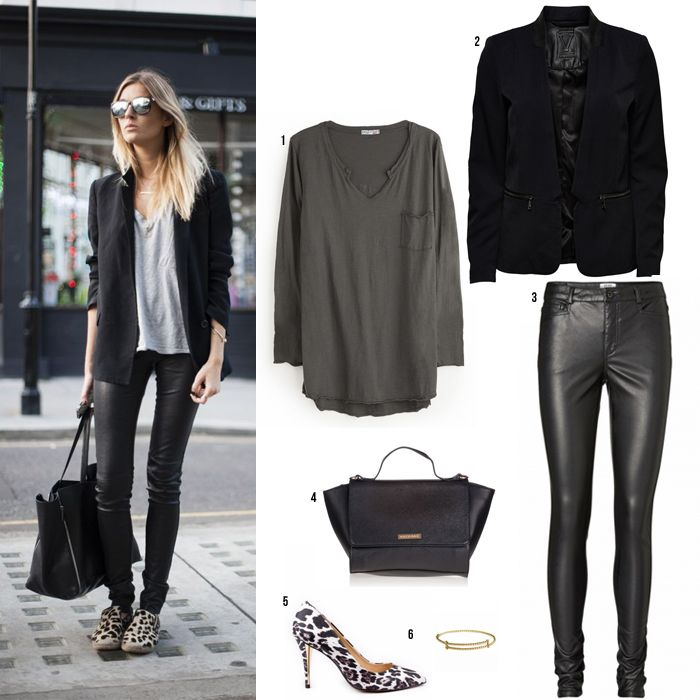 Looks-con-basicos-street-style-pantalones-cuero-camiseta-gris | Woman Style | Pinterest ...