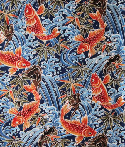 BTY Black /& White Asian Japanese Fabric Majestic Koi