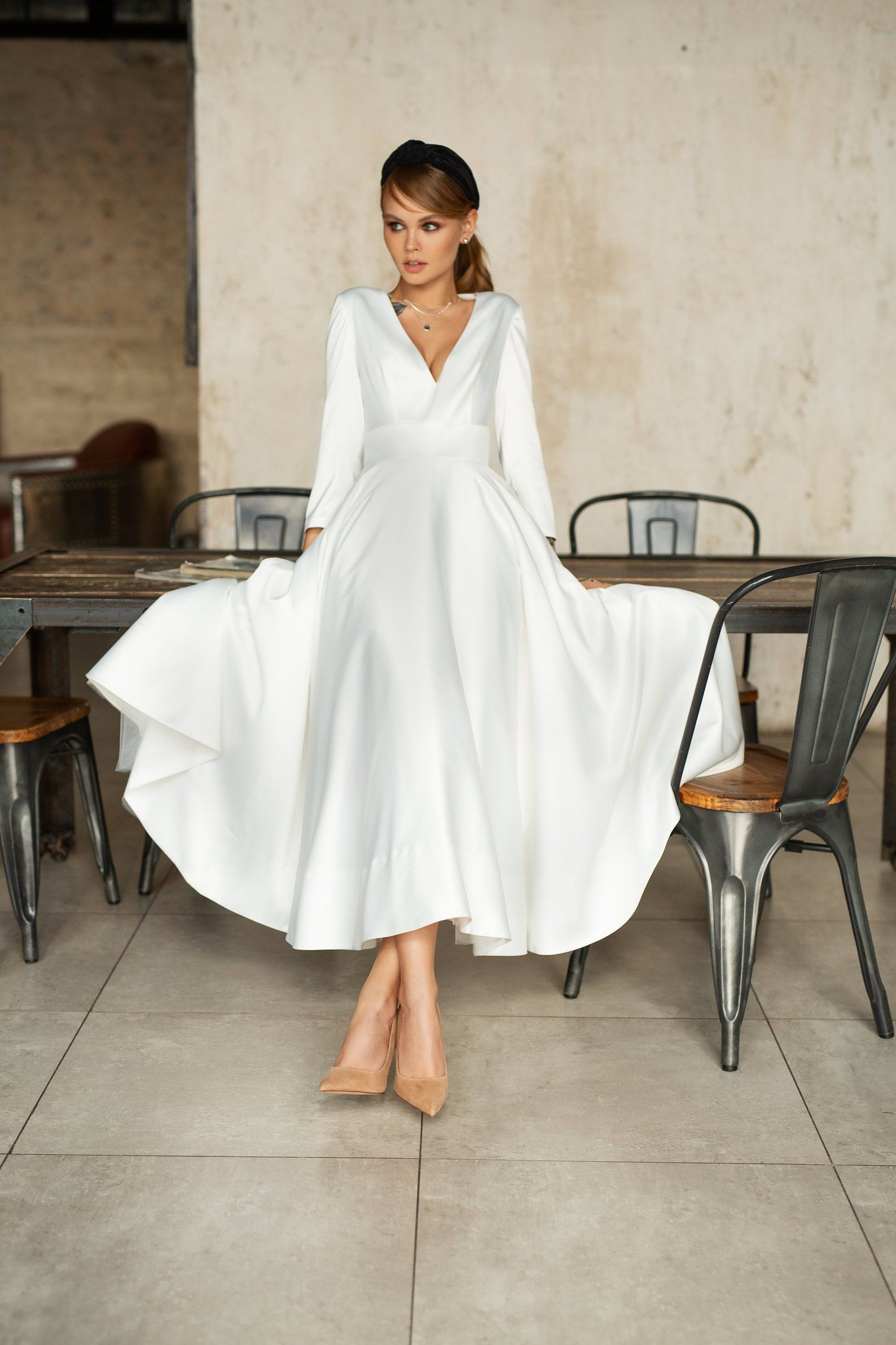 Minimalist Wedding Dress Modern Bridal Gown Reception Etsy Shower Dress For Bride Minimalist Wedding Dresses Bridal Shower Dress [ 2382 x 1588 Pixel ]