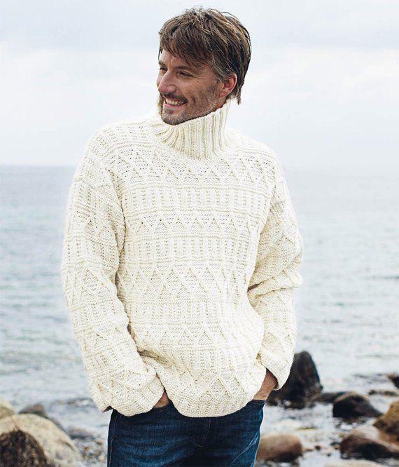 70e04b50b42857 Authentic Irish Fisherman Cotton White Sweater. Cotton sweaters for men