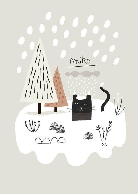 Miko sneeuw / Poster Print van MathildeAubier op Etsy