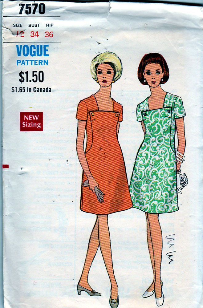 4fe2b1050906 Vogue Sewing Pattern 7570 ca.1960s  Misses  Dress
