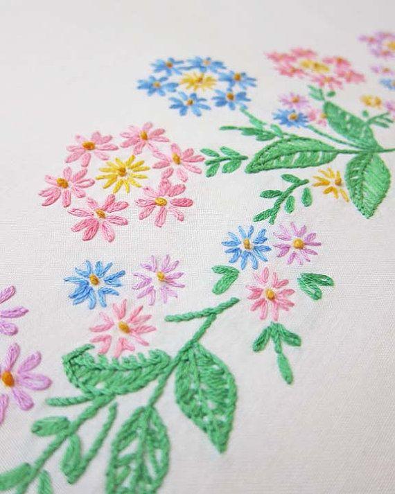 Vintage Pillowcase Floral Vintage Embroidery by OutsideInArtStudio
