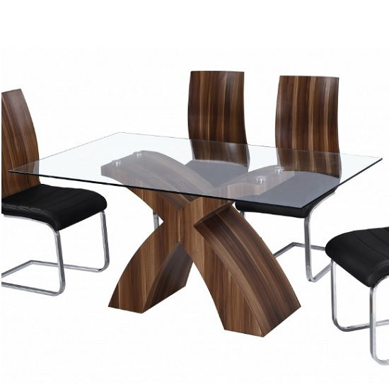 chateau modern glass dining table rectangular in clear with walnut rh pinterest de