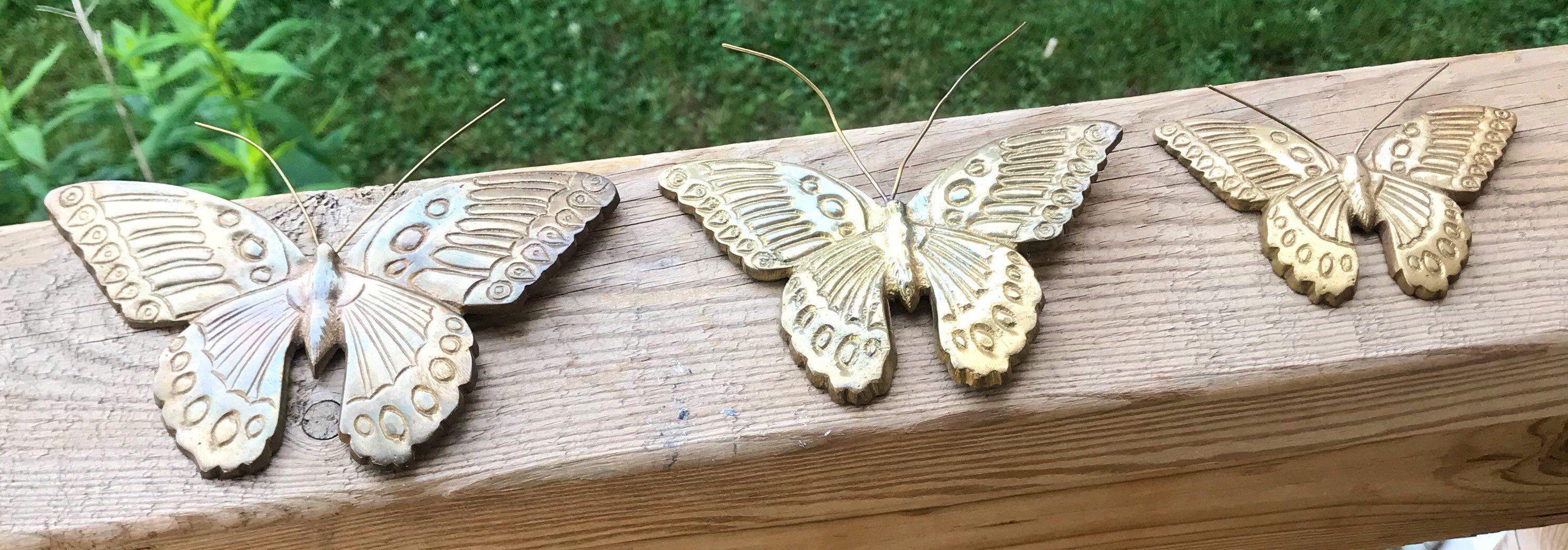 Vintage brass art butterflies butterfly set of graduated