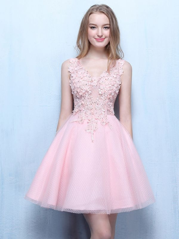 Neck Appliques Beading Short Prom Dress