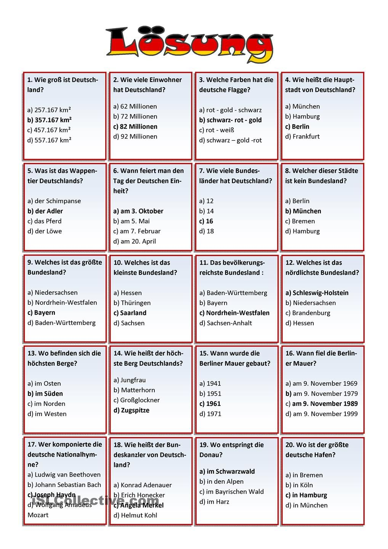 deutschland quiz arbeitsblatt kostenlose daf