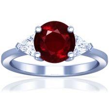 Ruby Three Stone Ring With Trillion Cut Diamonds