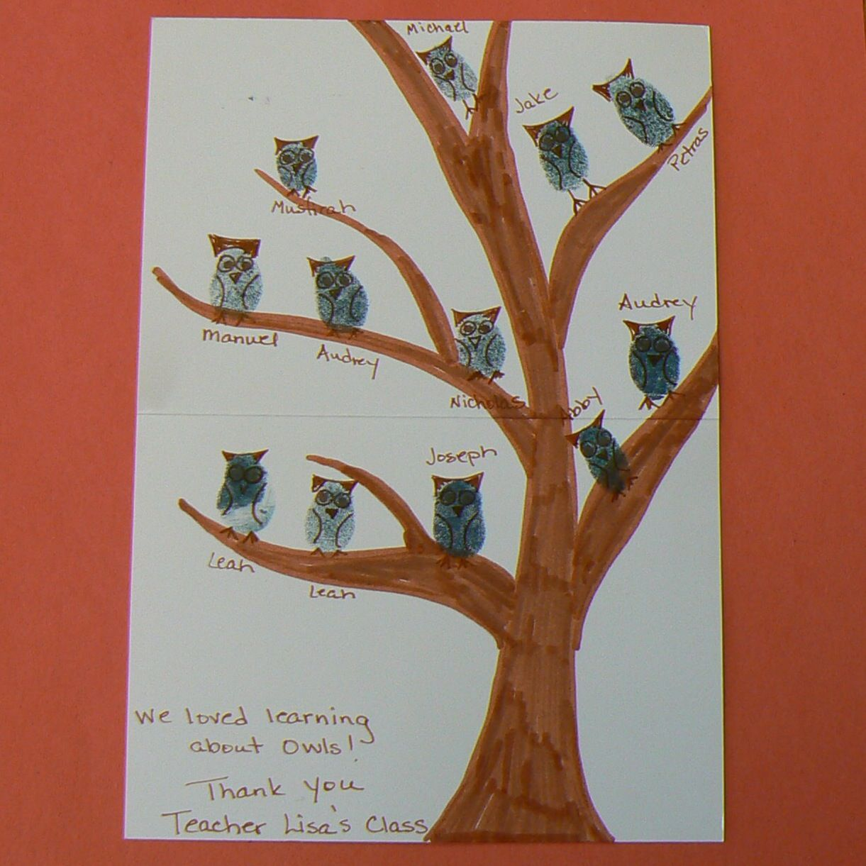 wedding thank you cards time limit%0A Fingerprint owl thank you card