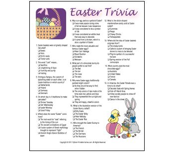 image about Easter Trivia Printable called Printable Easter Trivia Match Vacations inside 2019 Easter